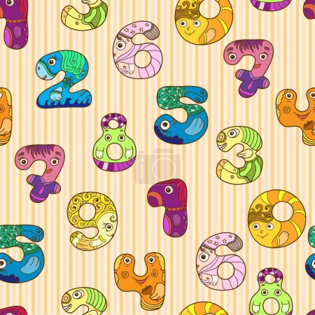 Illustration pour Ensemble de figures amusantes colorées uniques dessinées à la main (chiffres) avec les yeux et les mains . - image libre de droit