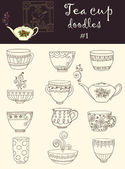 Vector set of doodle tea cup and teapot Series of doodles