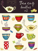 Vector set of doodle tea cup Series of doodles