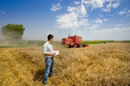 Photo pour Jeune ingénieur, écrire des notes dans le livre sur le champ de blé, moissonneuse-batteuse en arrière-plan - image libre de droit
