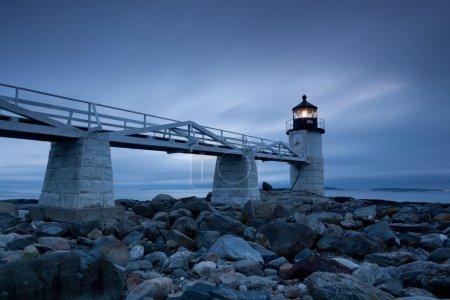 Photo pour Phare de Marshall Point au coucher du soleil, Maine, USA - image libre de droit