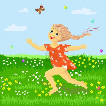 The girl runs on the meadow catching butterflies