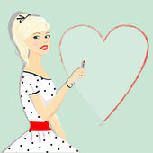 Retro beautiful girl with heart pin-up