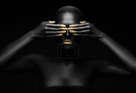 Photo for Black woman closes her eyes. - Royalty Free Image