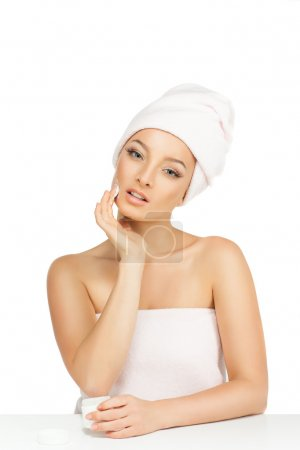 Young girl with beautiful eyes, skin care face....