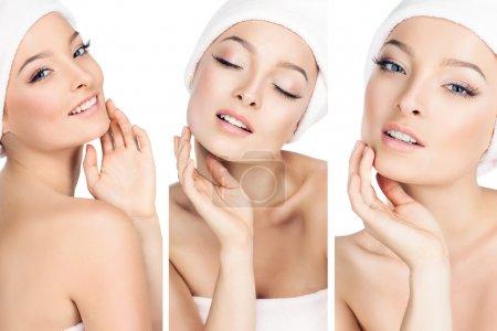 Photo pour Trois photos en une, les filles prennent soin de la peau. - image libre de droit
