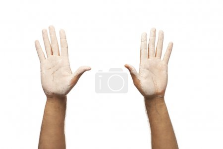 Photo for Two hands in white paint - Royalty Free Image