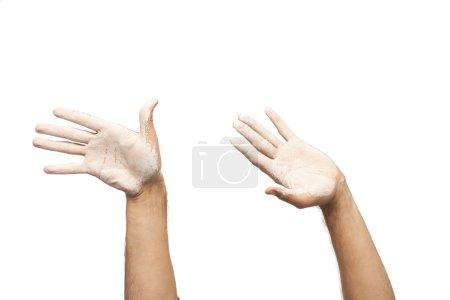 Photo pour Deux mains en peinture blanche - image libre de droit