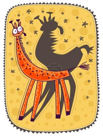Photo pour Petite girafe regardant son ombre avec peur. Fond jaune avec sphères jaune vif . - image libre de droit