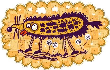 Photo pour Un animal étrange avec un gros nez, des lèvres rouges, de grands yeux, se tient parmi les fleurs et agite sa queue. Les pattes minces des animaux. Des nuages blancs sur lui. Fond à carreaux jaunes . - image libre de droit