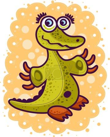 Photo pour Petit crocodile vert à bras ouverts . - image libre de droit