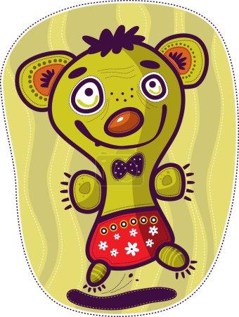 Photo pour Créature insolite verte avec une grosse tête en culotte rouge à pois sauté sur une jambe et souriant . - image libre de droit