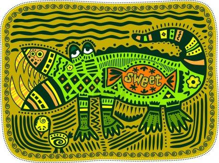 Photo pour Crocodile vert décoratif sur le fond du marais avec des bonbons et du poulet. Texte sur les bonbons, doux . - image libre de droit