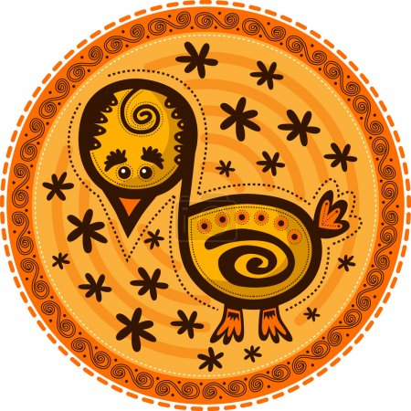 Decorative chicken on a yellow background with flowers.