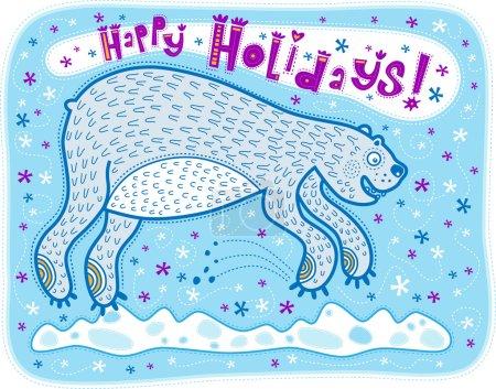 Illustration pour Bear a sauté dans la surprise quand il a vu des flocons de neige. Salutations de vacances . - image libre de droit