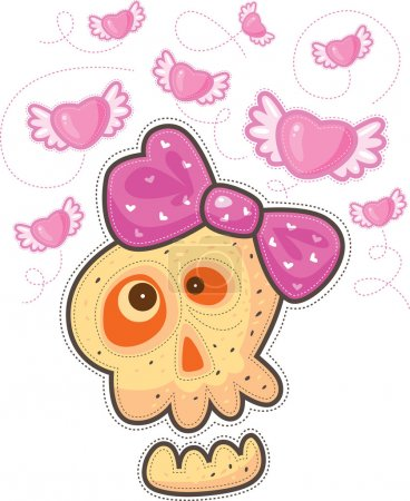 Illustration for Fall in love skull with pink bow. Above the skull flying pink hearts with wings. - Royalty Free Image