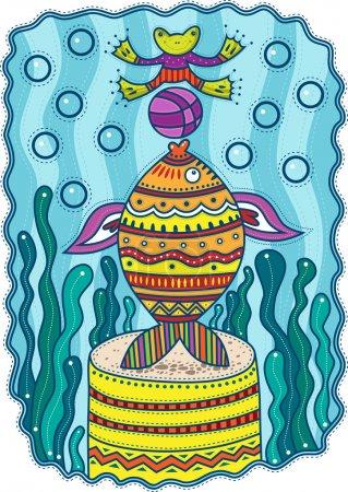 Photo pour Poisson coloré avec jeu d'une balle sur le fond décoratif . - image libre de droit