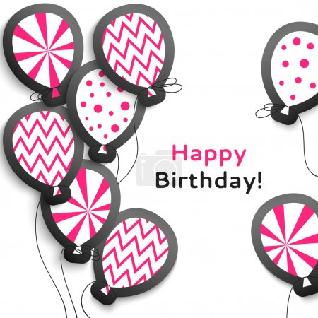 Happy birthday postcard with balloons