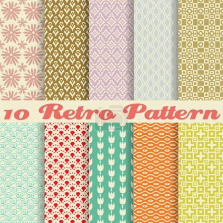 Illustration for 10 Retro different vector seamless patterns (tiling). Endless texture can be used for wallpaper, pattern fills, web page background,surface textures. Set of monochrome geometric ornaments. - Royalty Free Image