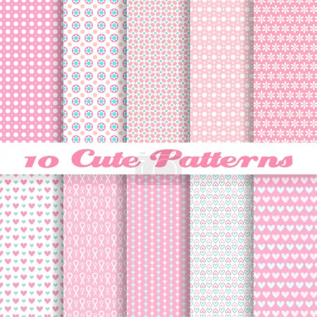 Illustration for 10 Cute different vector seamless patterns (tiling). Pink color. Endless texture can be used for sweet romantic wallpaper, pattern fills, - Royalty Free Image