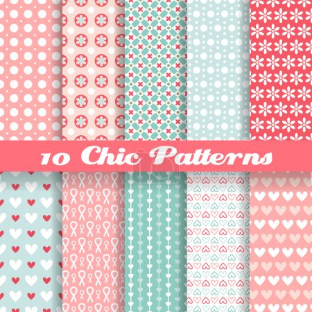 Illustration for 10 Chic different vector seamless patterns (tiling). Pink and blue color. Endless texture can be used for printing onto fabric and paper or - Royalty Free Image