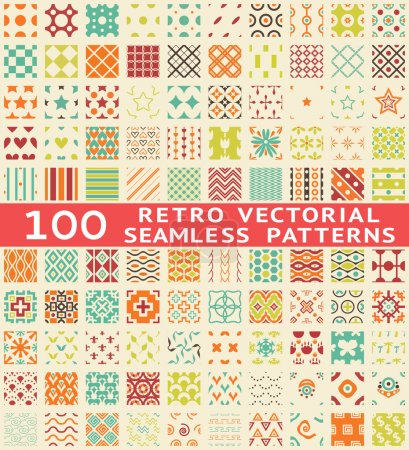Photo for Retro different vector seamless patterns (with swatch). Endless texture can be used for wallpaper, pattern fills, web page background, - Royalty Free Image