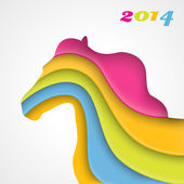 Year of the horse. Christmas and New Year card. Vector