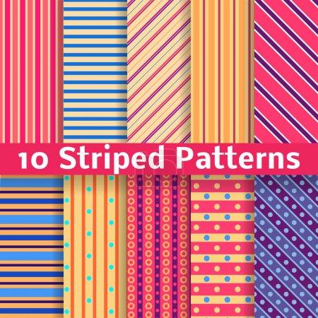 Illustration pour 10 Différents motifs sans couture vectoriels rayés (carrelage). Texture peut être utilisé pour l'impression sur le tissu et le papier ou la réservation de ferraille. Diagonale , - image libre de droit