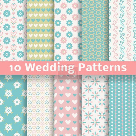 Pastel loving wedding vector seamless patterns (tiling).