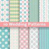 Pastel loving wedding vector seamless patterns (tiling)