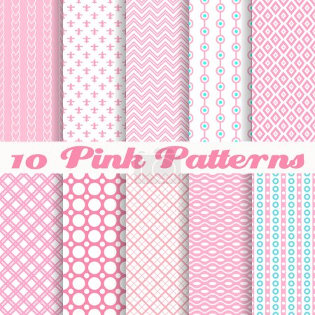Illustration for 10 Pink different vector seamless patterns (with square swatches). Endless texture can be used for sweet romantic wallpaper, pattern fills, - Royalty Free Image