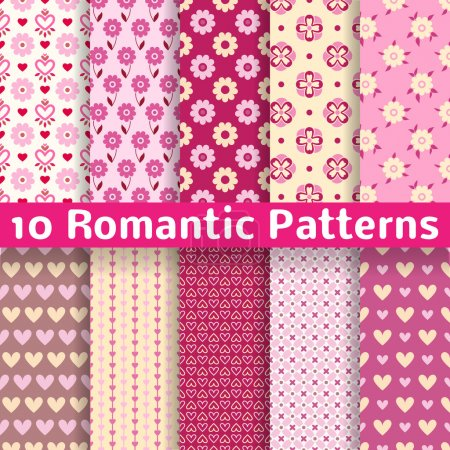Illustration for 10 Romantic different vector seamless patterns (tiling). Sweet pink, brown and lemon cream colors. Endless texture can be used for printing - Royalty Free Image