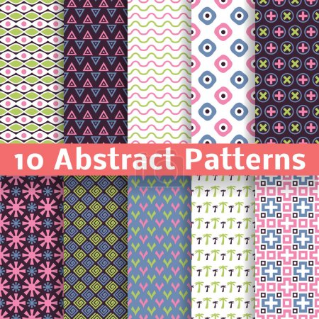 Abstract patterns. Set of vector seamless background