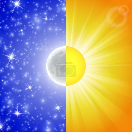 Illustration for Day and night. Vector illustration of a Split-screen Showing the Sun and the Moon. Abstract background. Image of the sky with stars, beams - Royalty Free Image
