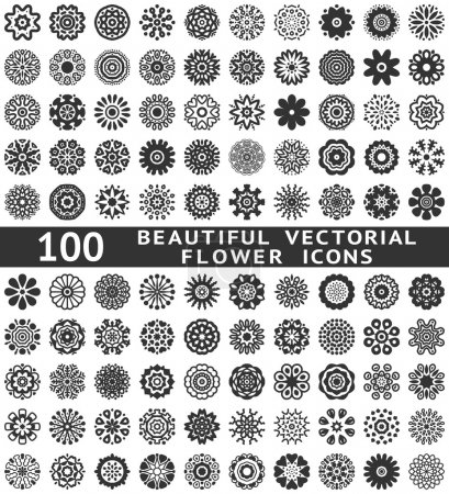 Beautiful abstract flower icons. Vector illustration