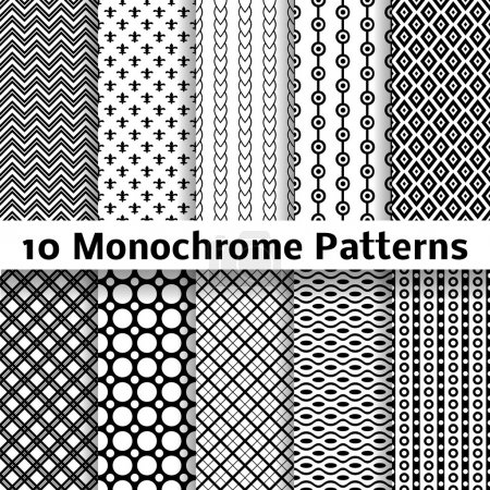 Monochrome different vector seamless patterns (tiling)