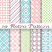 Pastel retro different vector seamless patterns (tiling)