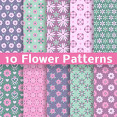 10 Romantic flower different vector seamless patterns (tiling) Pink green and blue colors Endless texture can be used for printing onto