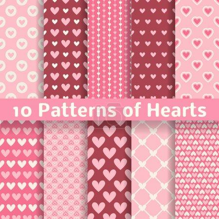 Heart shape vector seamless patterns (tiling)