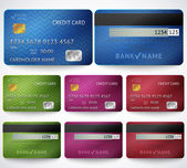 Set of realistic credit card two sides isolated on white background Vector illustration for your business design Detailed glossy cards