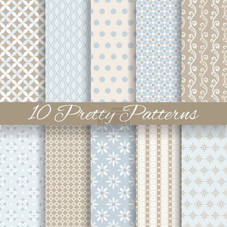 Illustration for 10 Pretty pastel vector seamless patterns (tiling, with swatch). Endless texture can be used for wallpaper, fill, web background, texture. Set of abstract cute ornaments. Blue, beige, white colors. - Royalty Free Image