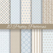 10 Pretty pastel vector seamless patterns (tiling with swatch) Endless texture can be used for wallpaper fill web background texture Set of abstract cute ornaments Blue beige white colors