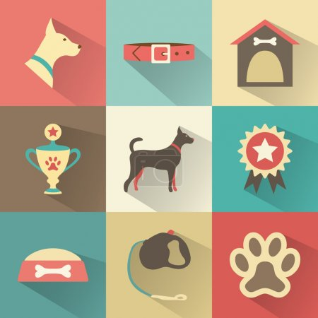 Retro dog icons set. Vector illustration for web, mobile