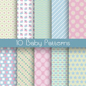 10 Baby pastel different vector seamless patterns (tiling) Endless texture can be used for wallpaper pattern fills web page background surface textures Set of monochrome geometric ornaments