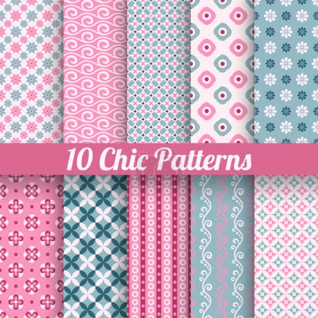 Illustration for 10 Chic different vector seamless patterns (tiling). Pink and blue color. Endless texture for printing onto fabric, paper, scrap booking. Wave, flower and dot shape. Pretty cute print background. - Royalty Free Image