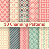 10 Charming different vector seamless patterns (tiling) Sweet pink blue and lemon cream colors Endless texture can be used for printing onto fabric and paper Heart flower and dot shape
