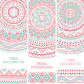 Tribal ethnic vintage banners Vector illustration for your cute feminine romantic design Aztec sign on white background Pink and blue colors Border and frame Oriental rug napkin Stripe pattern