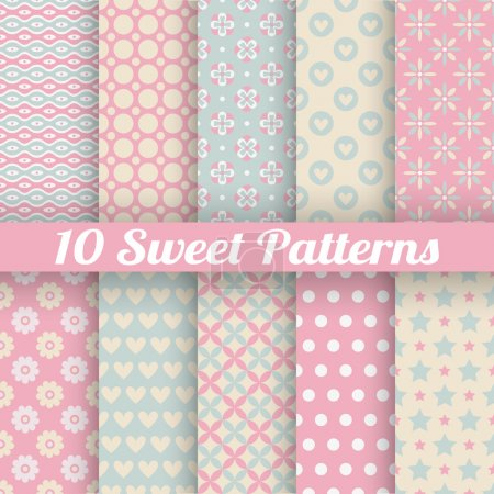 10 Sweet cute vector seamless patterns (tiling)