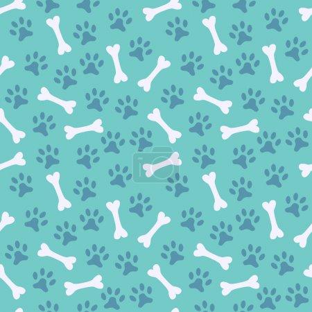 Illustration pour Modèle vectoriel sans couture animal de l'empreinte de la patte et de l'os. Texture infinie peut être utilisé pour l'impression sur tissu, fond de page Web et papier ou invitation. Chien. Couleurs blanc et bleu . - image libre de droit