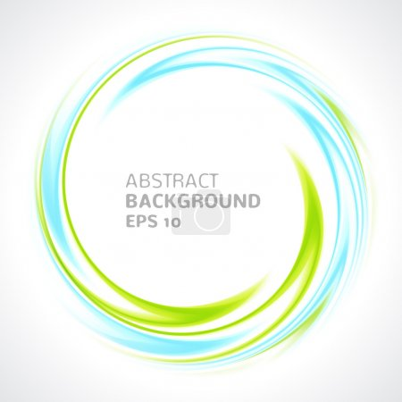 Illustration for Abstract light blue and green swirl circle bright background. Vector illustration for you modern design. Round frame or banner with place for text. - Royalty Free Image